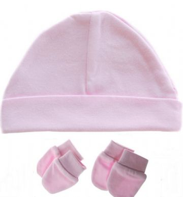 Plain Baby 100% Cotton Beanie Hat & Mitts Pink